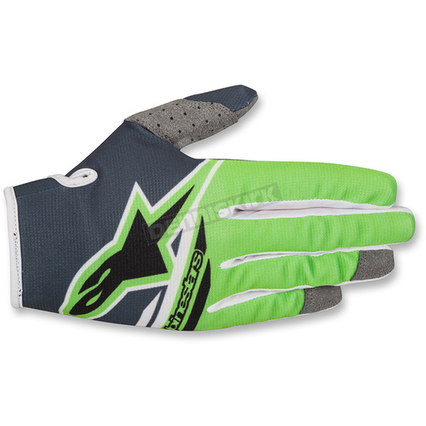 Alpinestars Youth Anthracite/Fluo. Green Radar Flight Gloves - 3541818-14602XS