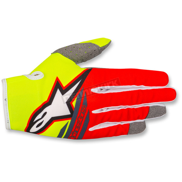 Alpinestars Youth Fluo. Yellow/Red/Anthracite Radar Flight Gloves - 3541818-539-2XS