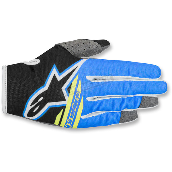 Alpinestars Youth Black/Aqua/Fluo. Yellow Radar Flight Gloves - 3541818-1175-SM