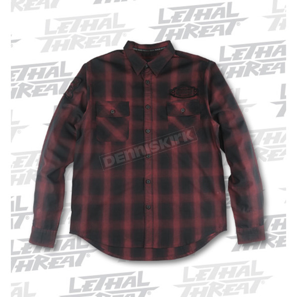Lethal Threat Rust Built for Speed Plaid Long Sleeve Shirt - MG60100M