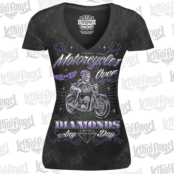 Lethal Threat Womens Black Motorcycle Over Diamonds T-Shirt - LT20430XL