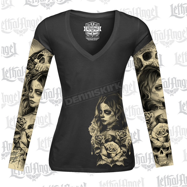 Lethal Threat Womens Long Sleeve Love N Death Tattoo Sleeve Shirt - LT20429XXL