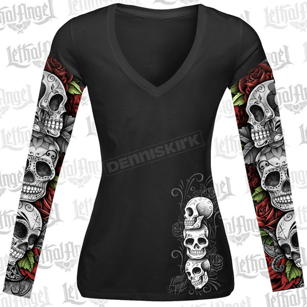 Lethal Threat Womens D.O.D. Rose Skull Tattoo Sleeve Shirt - LT20345M