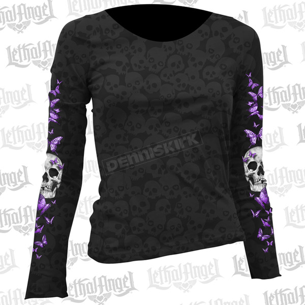 Lethal Threat Womens Butterfly Skull Burnout Long Sleeve Shirt - LT20403S
