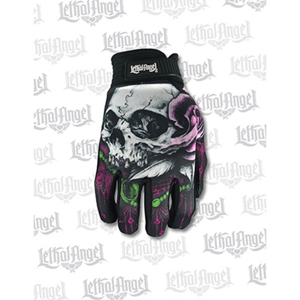 Lethal Threat Womens Floral Skull Gloves - GL15006S