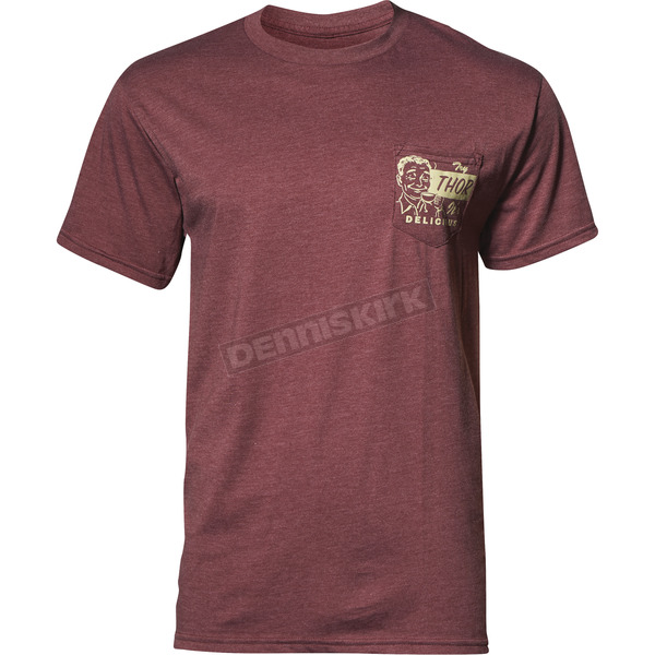 Thor Mens Burgundy Heather Delicious Pocket Tee Shirt - 3030-16073