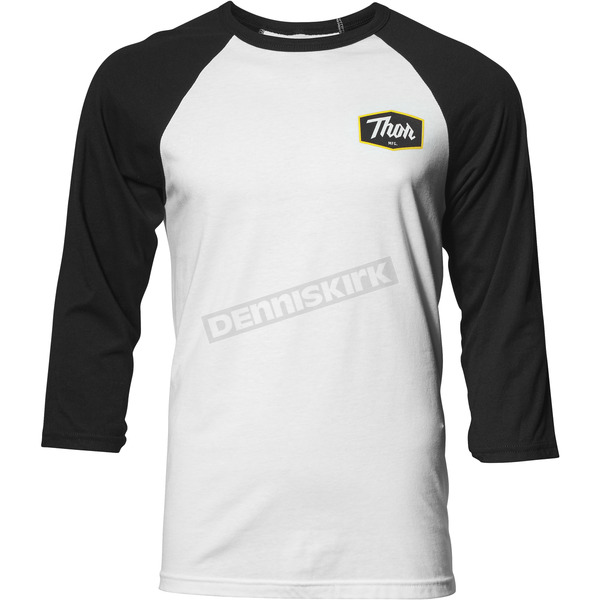 Thor Mens White/Black Establish 3/4 Sleeve Tee Shirt - 3030-16083