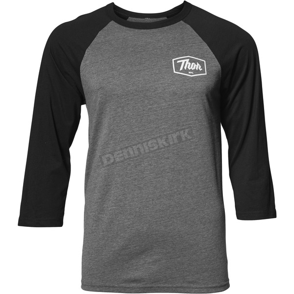 Thor Mens Charcoal/Black Establish 3/4 Sleeve Tee Shirt - 3030-16087