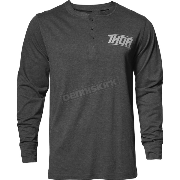 Thor Mens Gray Corp Henley Long Sleeve Shirt - 3030-16107