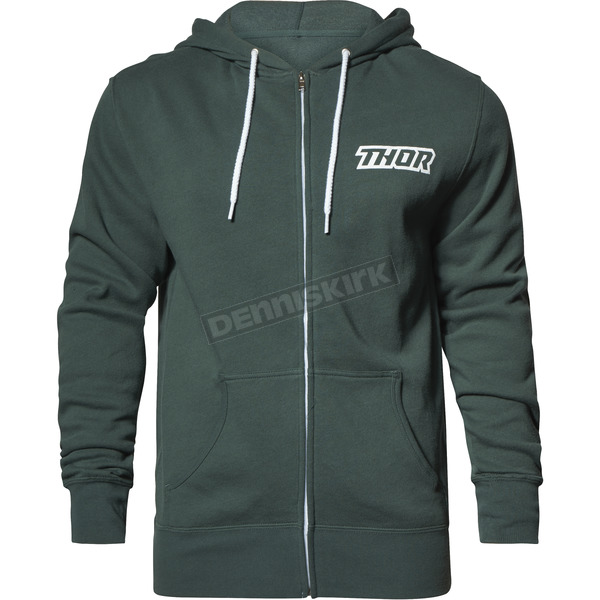 Thor Alpine Green Script Zip-Up Hooded Sweatshirt - 3050-4255