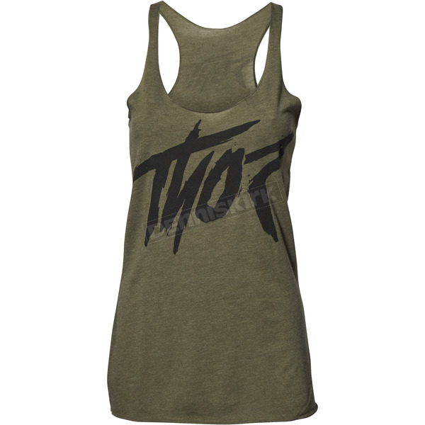 Thor Womens Military Green Overshot Tank Top  - 3031-3223