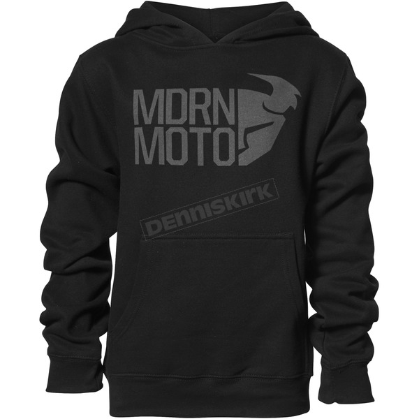 Thor Boys Black Modern Moto Pullover Hooded Sweatshirt - 3052-0421