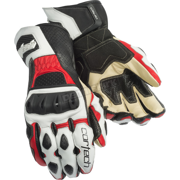 Cortech White/Red Latigo 2 RR Gloves - 8391-0201-08