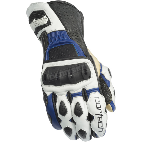 Cortech White/Blue Latigo 2 RR Gloves - 8391-0202-07