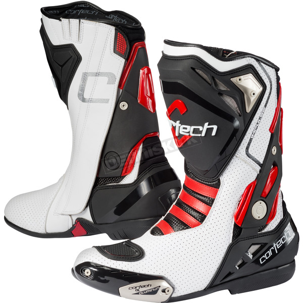 Cortech White/Red Impulse Air Road Race Boots - 8514-0001-42