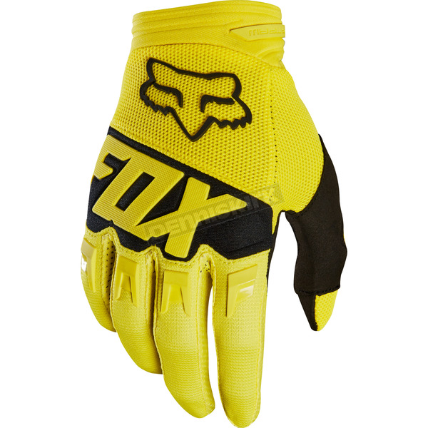 Fox Yellow Dirtpaw Race Gloves - 19503-005-L