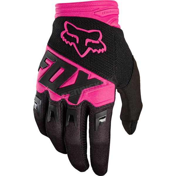 Fox Black/Pink Dirtpaw Race Gloves - 19503-285-M
