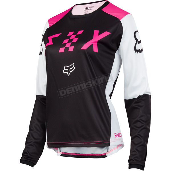 Fox Women's Black/Pink Switch Jersey - 19465-285-S