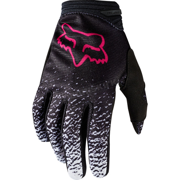 Fox Youth Girl's Black/Pink Dirtpaw Gloves - 19508-285-M
