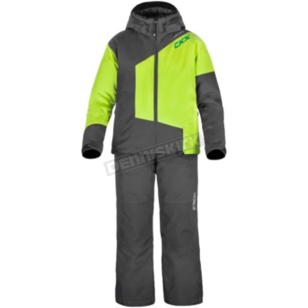 CKX Youth Charcoal/Charged Green 2-Piece Pulse Snowmobile Suit - Y17302_SUITS_BK_12