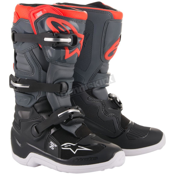 Dark Gray/Light Gray Fluorescent Red Tech 7S Youth Boots - 201501711334