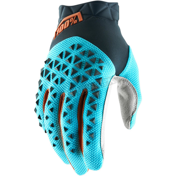 100% Steel Gray/Ice Blue/Bronze Airmatic Gloves - 10012-264-10