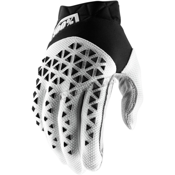 100% Black/White/Silver Airmatic Gloves - 10012-011-10
