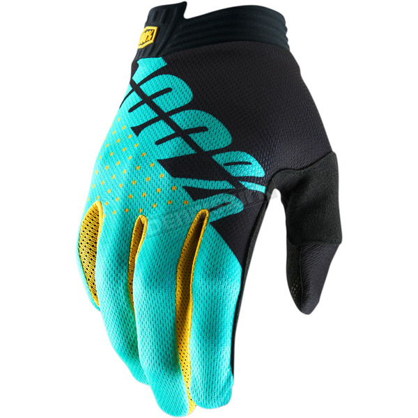 100% Black/Aqua I-Track Gloves - 10015-215-10