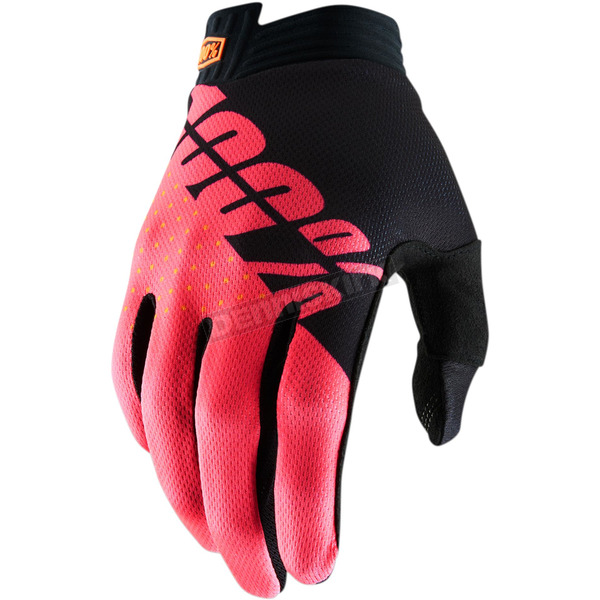 100% Black/Fluorescent Red I-Track Gloves - 10015-013-10