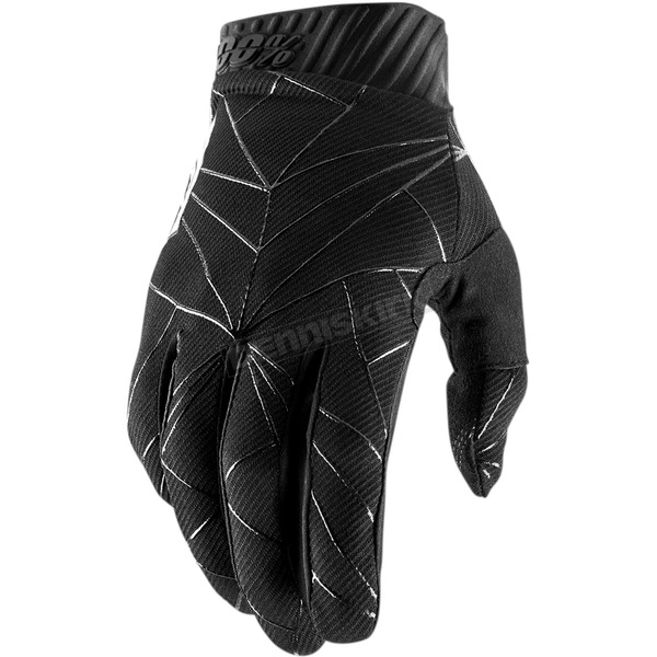 100% Black/White Ridefit Gloves - 10014-251-13