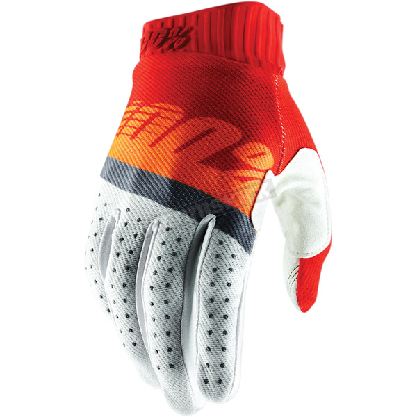 100% Red/Fluorescent Orange/Slate Blue Ridefit Gloves - 10014-214-10