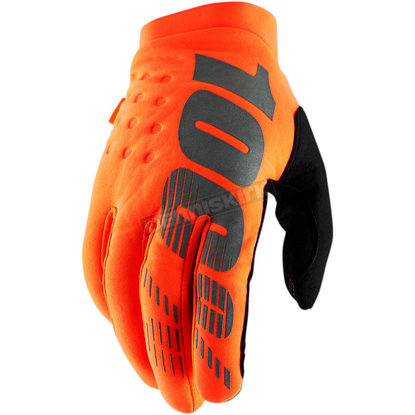 100% Fluorescent Orange/Black Brisker Gloves - 10016-260-13