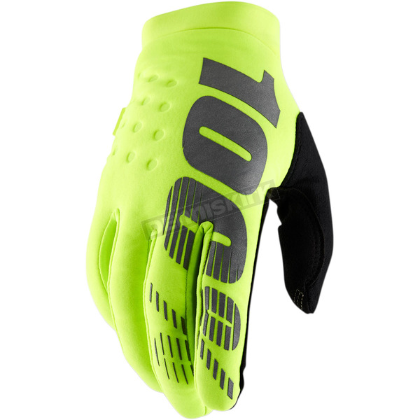 100% Fluorescent Yellow Brisker Gloves - 10016-004-13