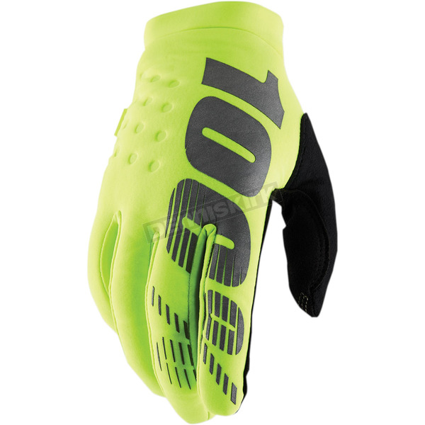 100% Youth Fluorescent Yellow Brisker Gloves - 10016-004-04