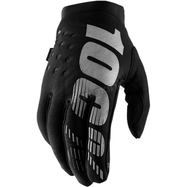 100% Youth Black/Gray Brisker Gloves - 10016-057-07