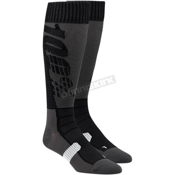 100% Black/Gray Hi Side Performance Moto Socks - 24008-057-17