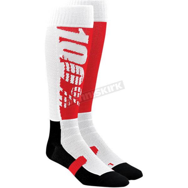 100% Red/Black Hi Side Performance Moto Socks - 24008-248-17
