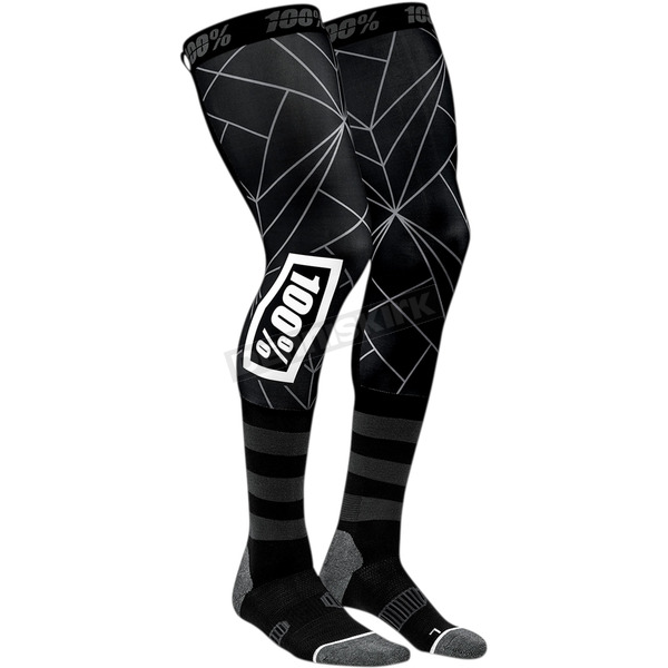 100% Black Rev Knee Brace Performance Moto Socks - 24014-001-17