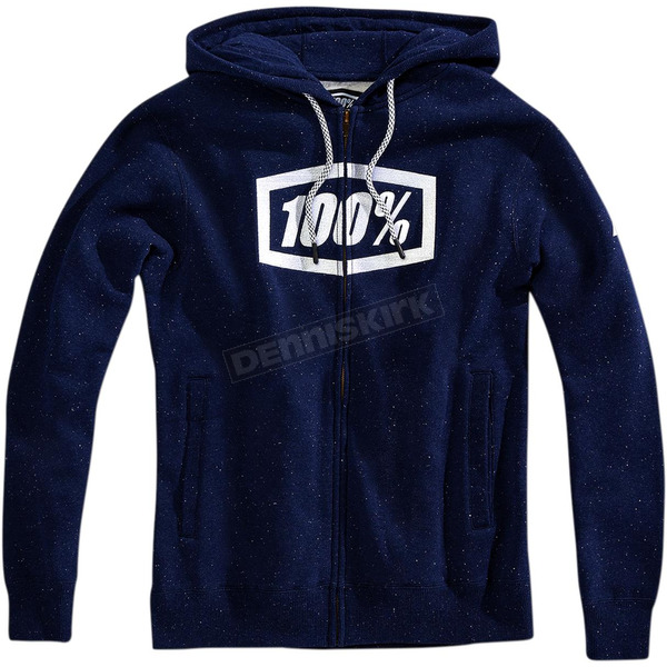 100% Navy/White Syndicate Zip Hooded Sweatshirt - 36017-022-13