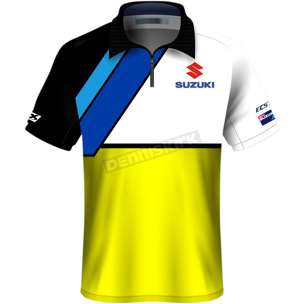 White/Yellow Suzuki Team Pit Polo Shirt - 23-85404