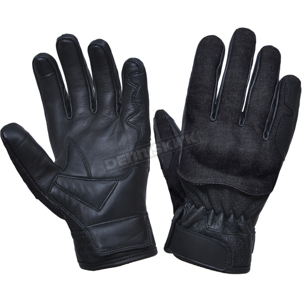 Men's Black Leather Knuckle Armor Gloves w/Denim Aramid Fibers - 8171.00L