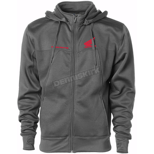 Charcoal Honda Poly-Tech Zip Hooded Sweatshirt - HL-4004-6-CHR-2X