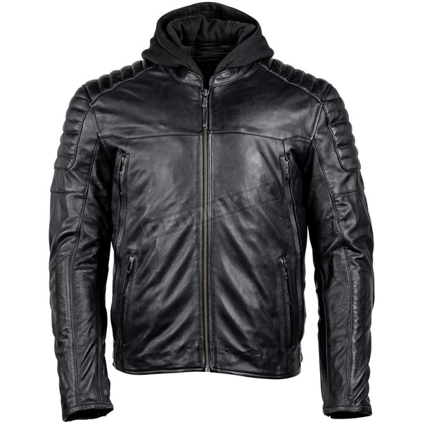 Black Marquee Leather Jacket With Removable Hood - 8371-0105-07