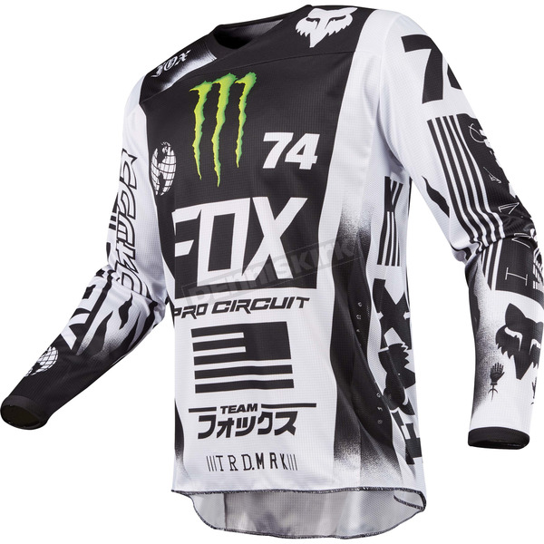 Fox White/Black/Green 180 Monster/Pro Circuit SE Jersey - 20025-129-M