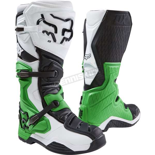 Fox White/Green/Black Comp 8 SE Boots - 20600-129-14