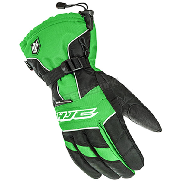 HJC Black/White/Green Storm Gloves - 1511-044