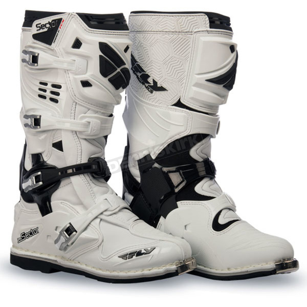 Fly Racing White Sector Boots - 363-57409