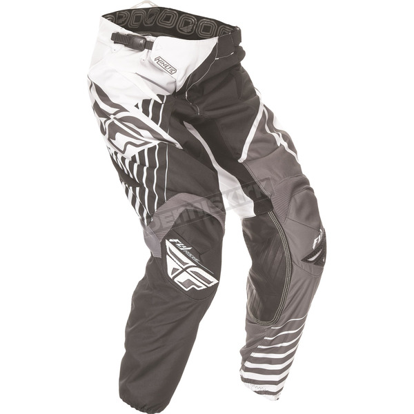 Fly Racing Youth Black/White/Gray Kinetic Vector Pants - 369-53018
