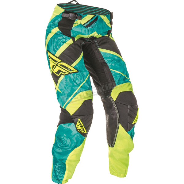 Fly Racing Women's Teal/Hi-Vis Yellow Kinetic Pants - 369-63805