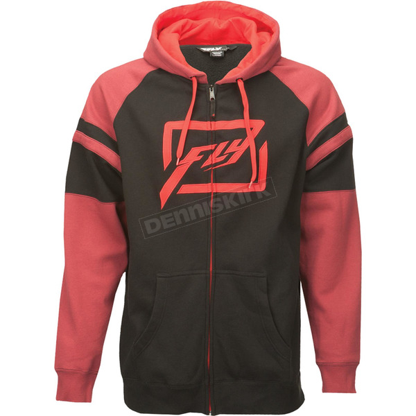 Fly Racing Black/Burgundy Threshold Zip Hoody - 354-6272XL